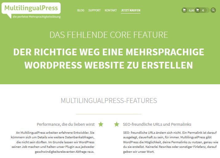 Produktseite von MultilingualPress auf Deutsch verfügbar!