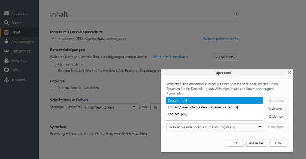 MultilingualPress automatische Sprachweiterleitung - bevorzugte Sprachen im Browser einstellen (Firefox)