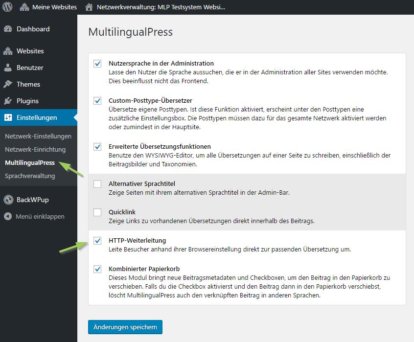 MultilingualPress - HTTP Weiterleitung aktivieren