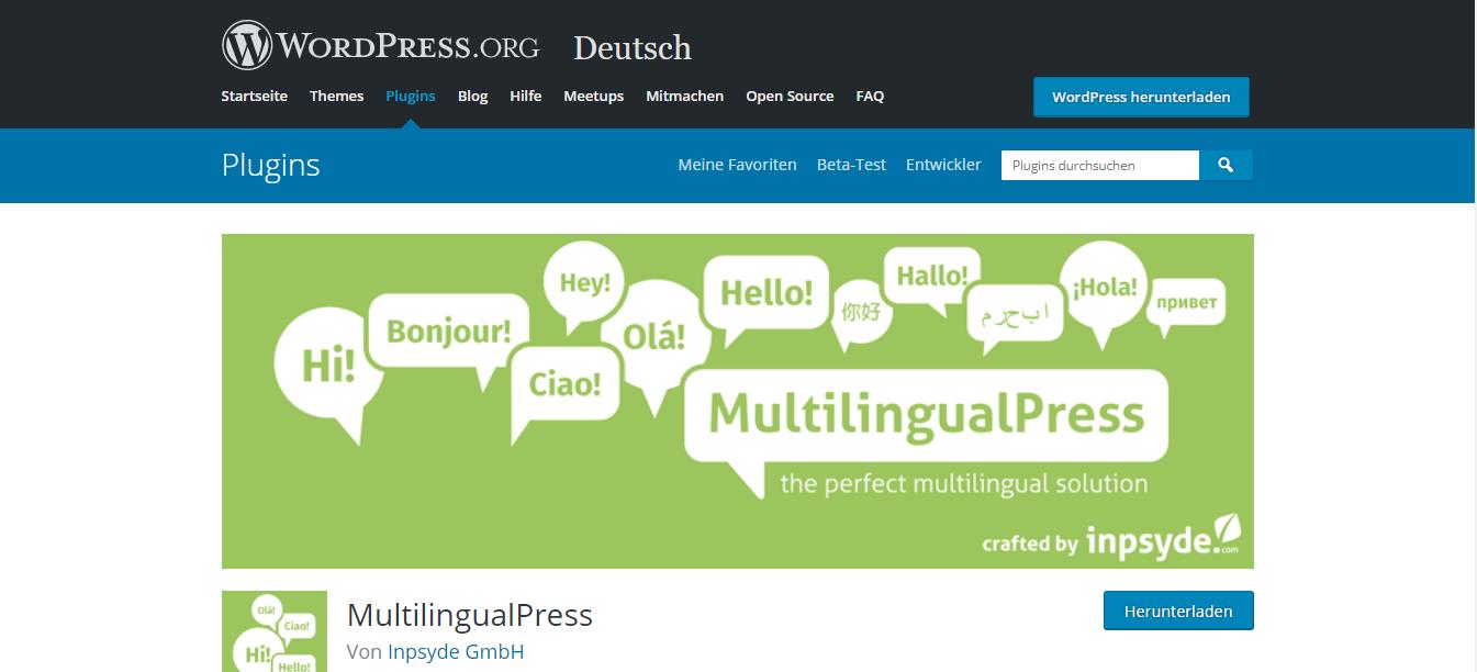 MultilingualPress von WordPress herunterladen