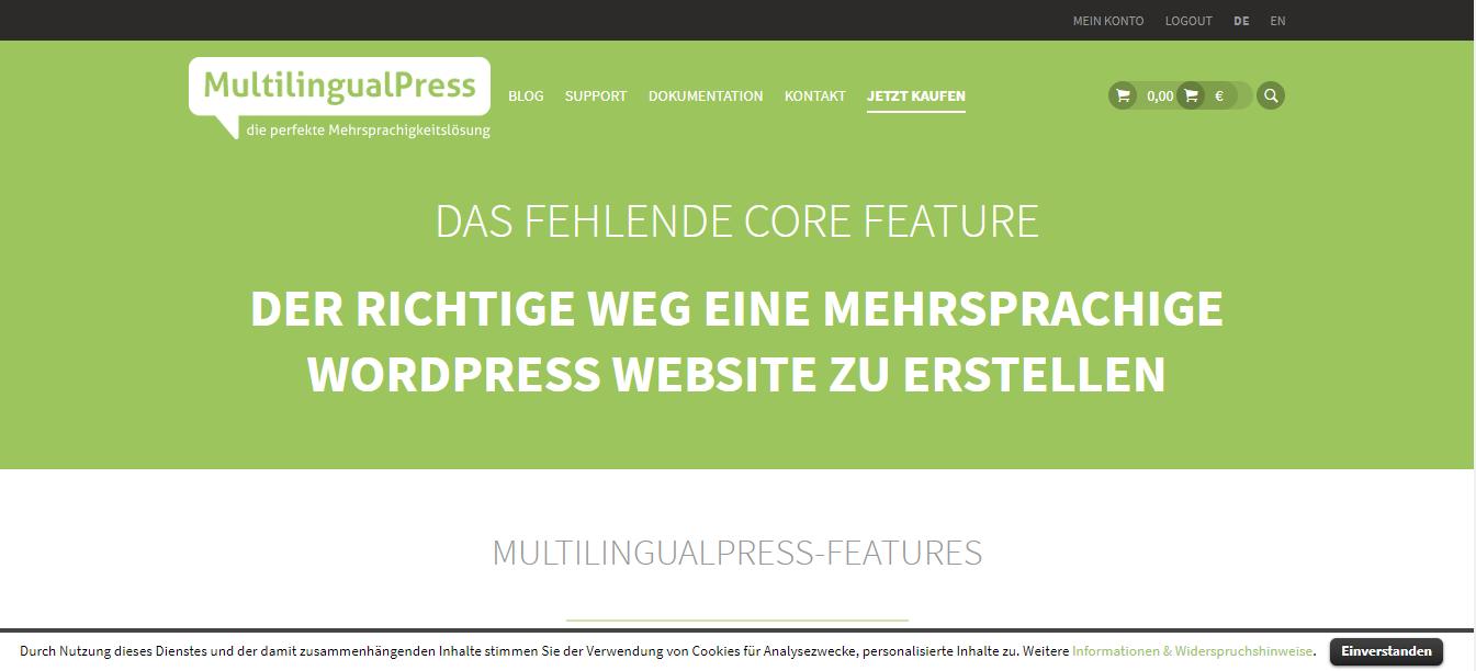 WordPress Multisite Übersicht - Beispiel MultilingualPress