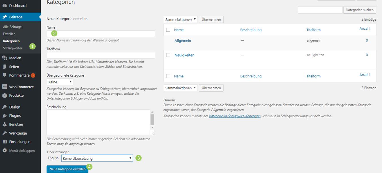 WordPress Kategorien übersetzen - Sprachzuweisung einer neuen Kategorie