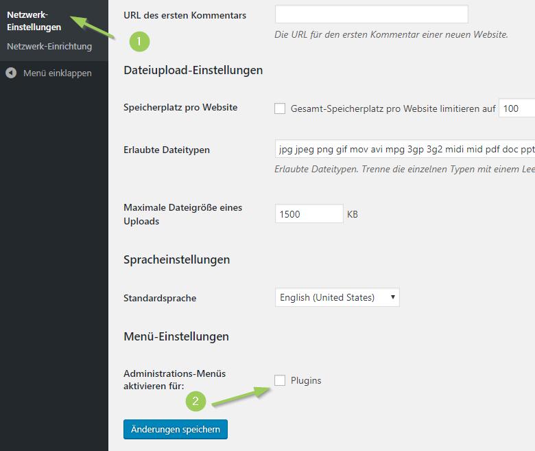 Plugins Menü für Admins der einzelnen Webseiten in einer Multisite verfügbar machen