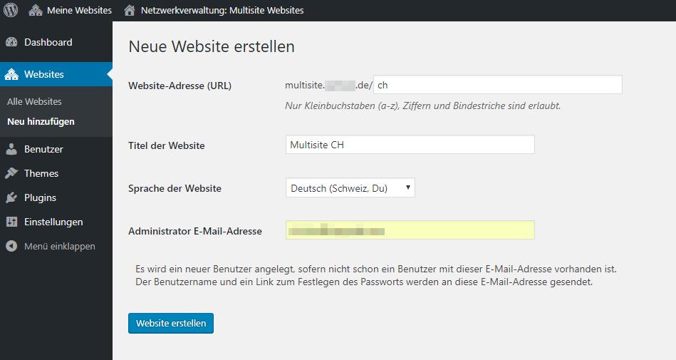 Einstellungen für die neue Website im Multisite Netzwerk
