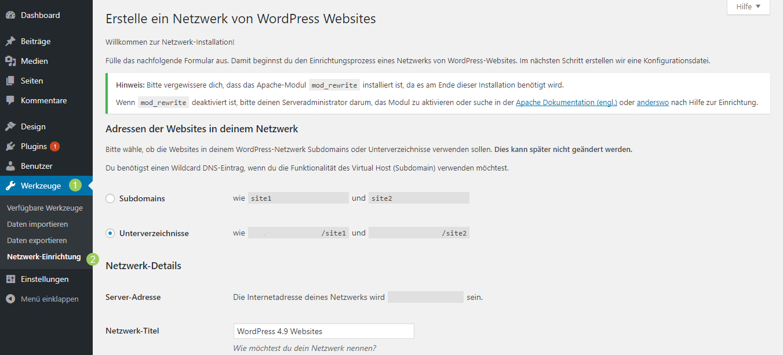 WordPress Multisite installieren - Netzwerk-Einrichtung