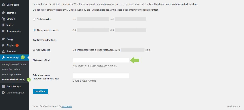 WordPress Multisite Netzwerk-Titel
