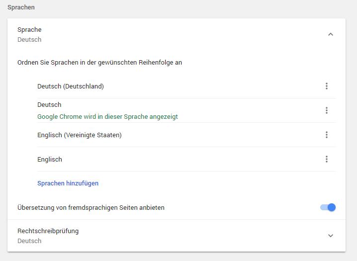Spracheinstellungen des Browsers am Beispiel von Google Chrome (zu finden im Chrome unter Einstellungen → Sprachen