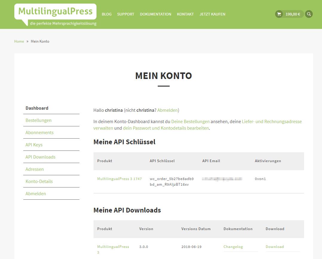 MultilingualPress Lizenzdaten und Produktdownload im Kundenkonto