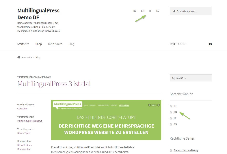 MultilingualPress Sprachmenü im Frontend: oben rechts als Menü, in der Sidbar als Widget eingebunden