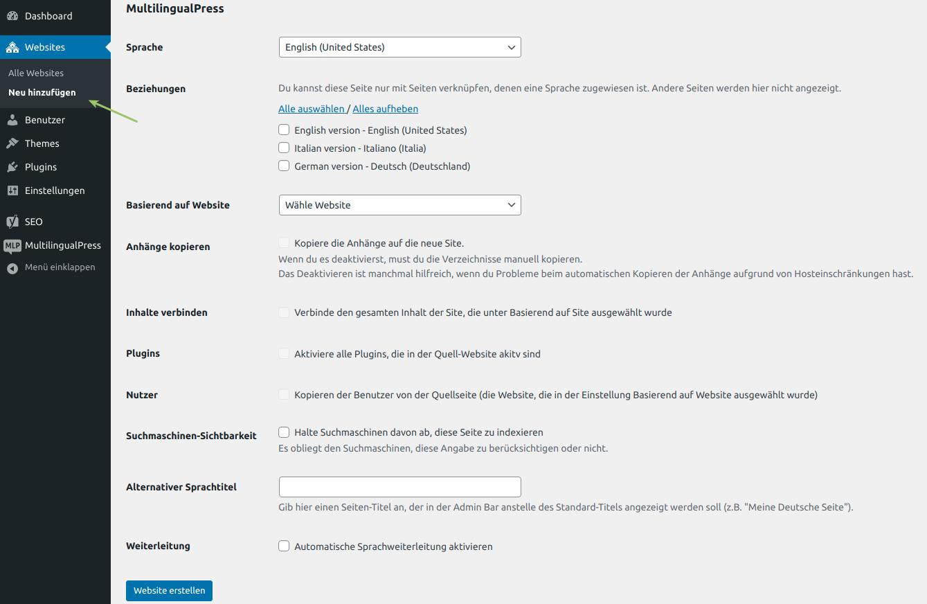 MultilingualPress-Einstellungen: Hinzufügen einer neuen Seite