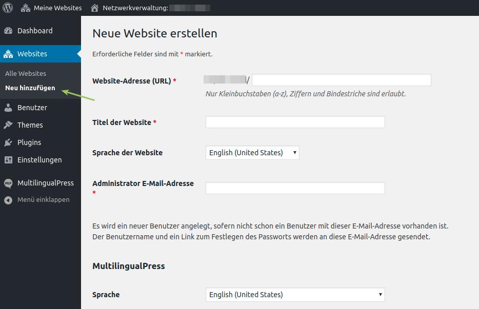 Hinzufügen einer neuen Seite zum Netzwerk: die allgemeinen Einstellungen der WordPress Multisite