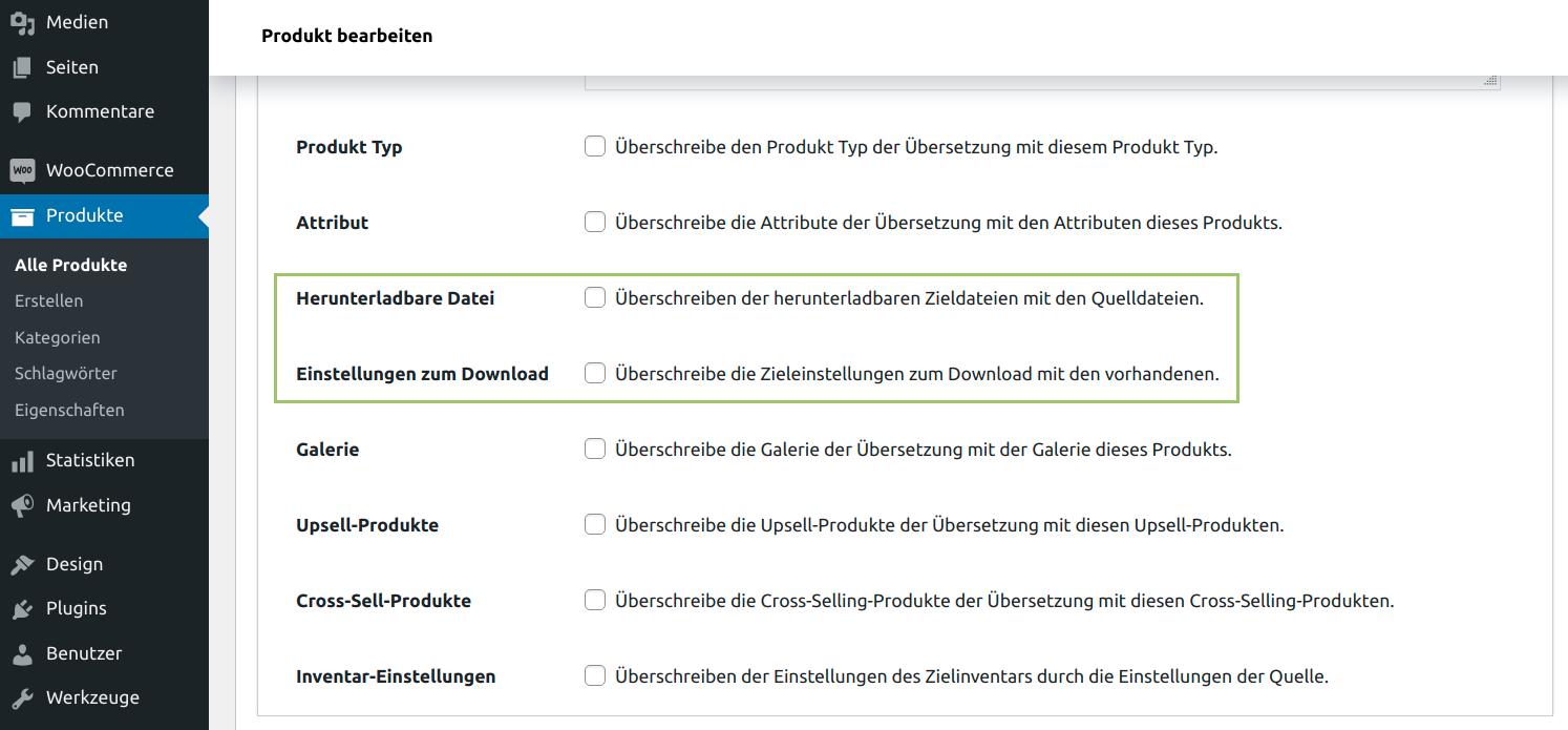 MultilingualPress WooCommerce Produktdaten Tab - herunterladbare Dateien kopieren