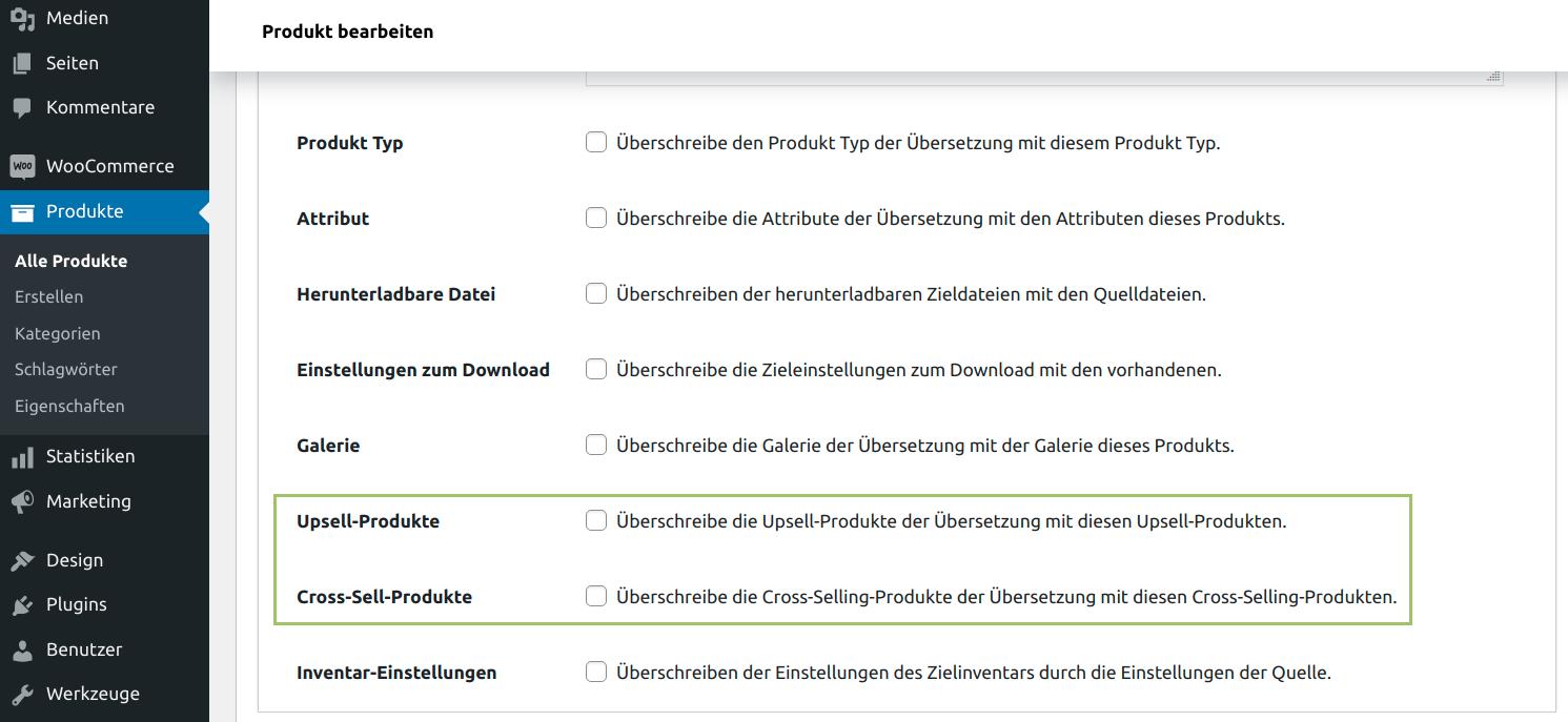 MultilingualPress WooCommerce Produktdaten Tab - Upsells- und Cross-Sells-Produkte kopieren