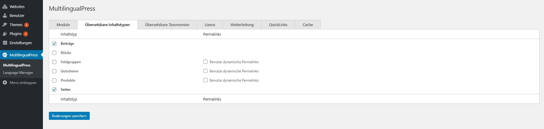 Übersetzbare Inhaltstypen festlegen unter MultilingualPress, übersetzbare Inhaltstypen