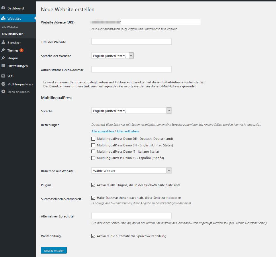 Neue Seite zum Multisite Netzwerk hinzufügen