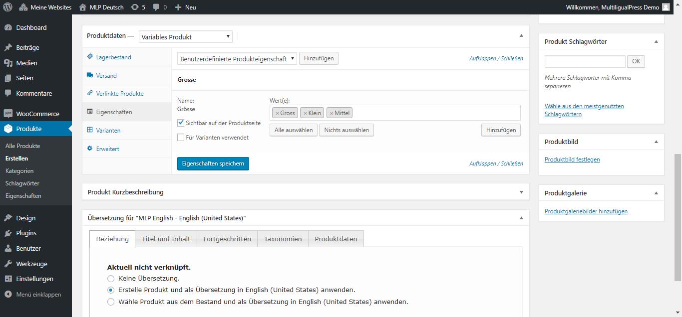 WooCommerce Produkte übersetzen und die Übersetzungen miteinander verknüpfen.
