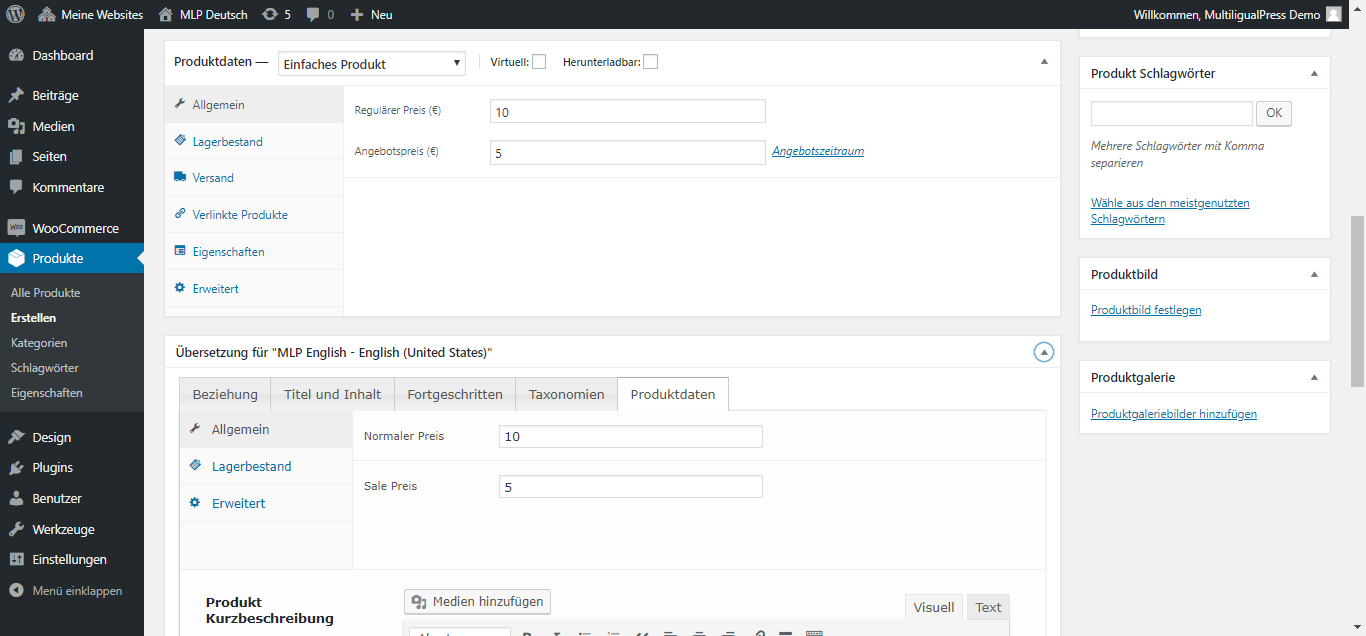 MultilingualPress WooCommerce Produkt Daten - Einfaches Produkt, Preiseinstellungen