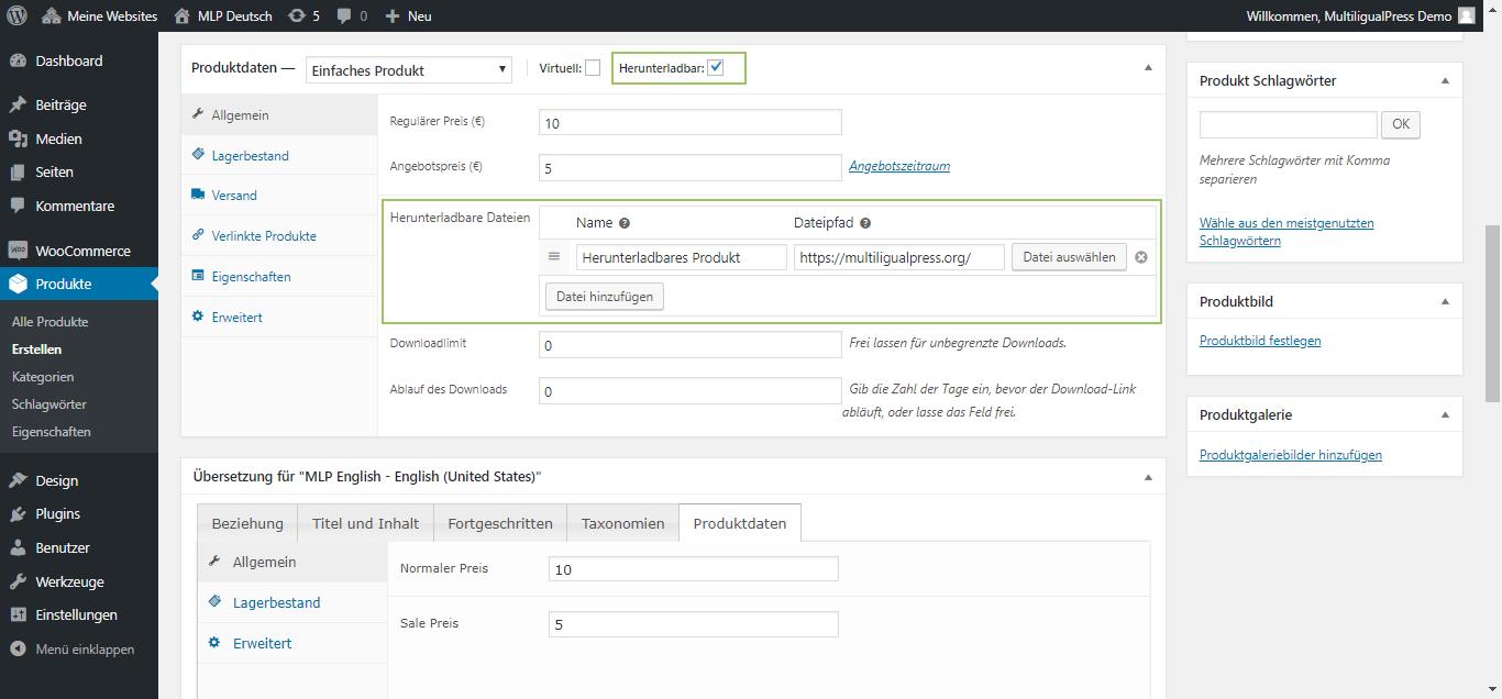 MultilingualPress WooCommerce Produktdaten - Einfaches Produkt, herunterladbare Dateien