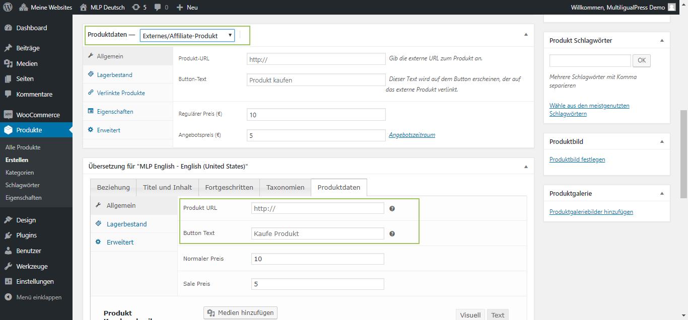 MultilingualPress WooCommerce Produktdaten Tab - Externes/Affiliate Produkt