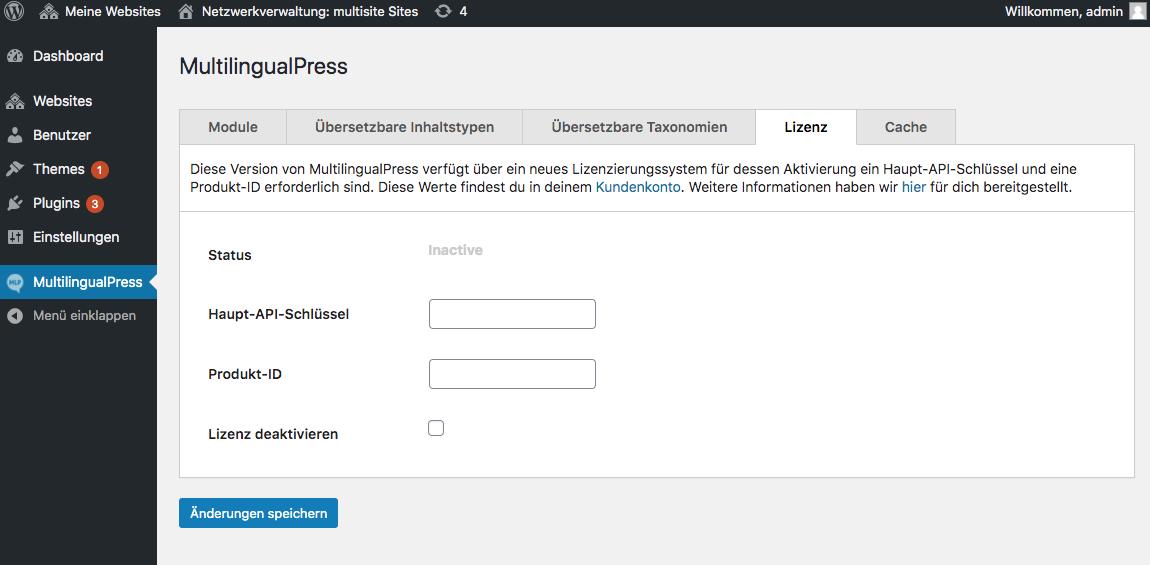 Lizenzaktivierung unter MultilingualPress, Lizenz