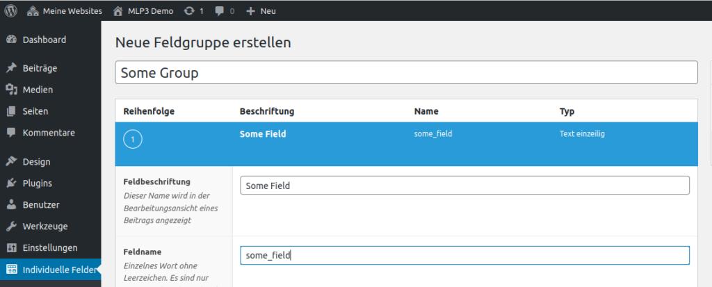 Advanced Custom Fields UI - neue Gruppe und ein Feld erstellen