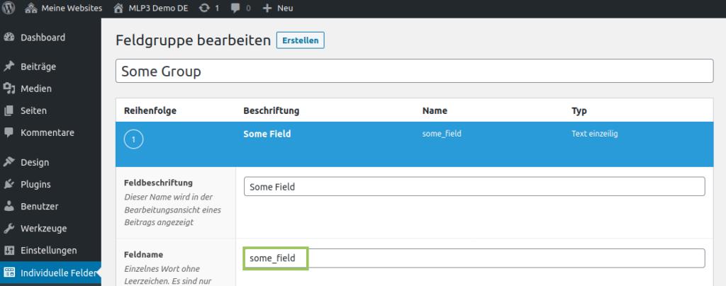 Benutzerdefiniertes Feld in Site 2 erstellen