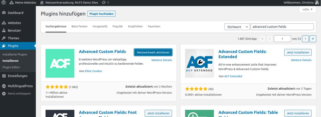 Plugin Advanced Custom Fields installieren