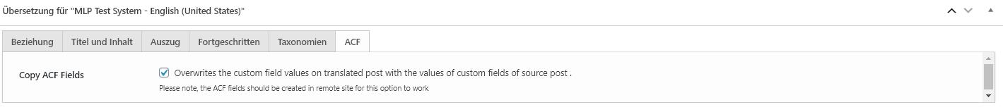 Copy ACF Field Option zum Kopieren von Feldern in der Übersetzungs-Metabox