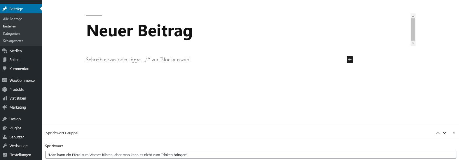 Beitragserstellung im WordPress Backend
