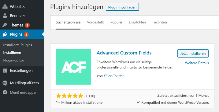 ACF Plugin Download über das WordPress-Backend