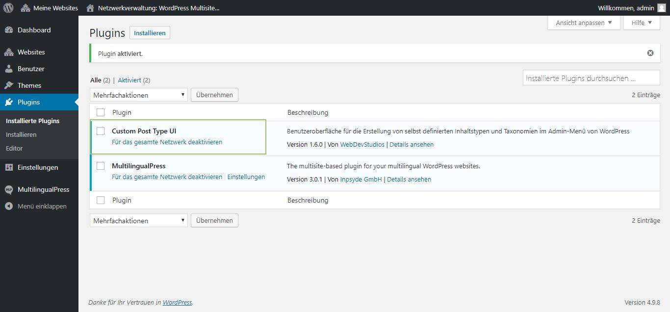 Installation des Plugins Custom Post Type UI über das WordPress Backend, Plugins