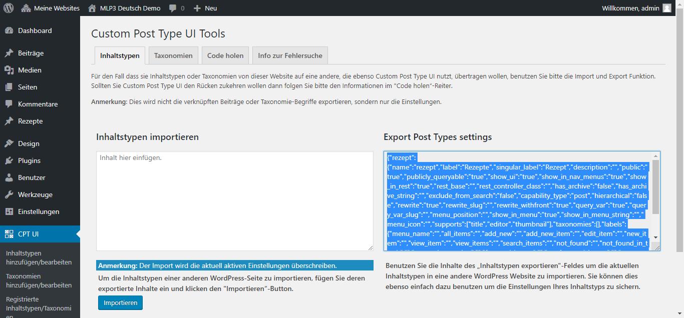 CPT UI Plugin Tools Seite zum Exportieren und Importieren von Inhaltstypen