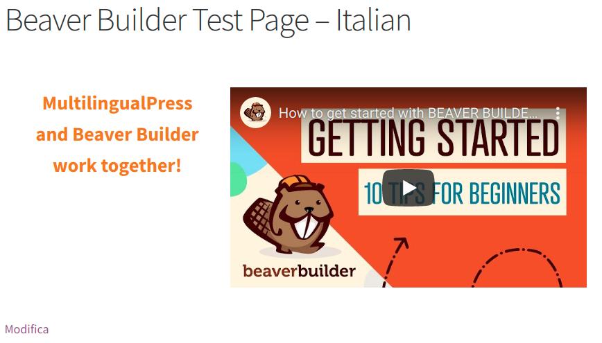 Beaver Builder Testseite - Italienische Version