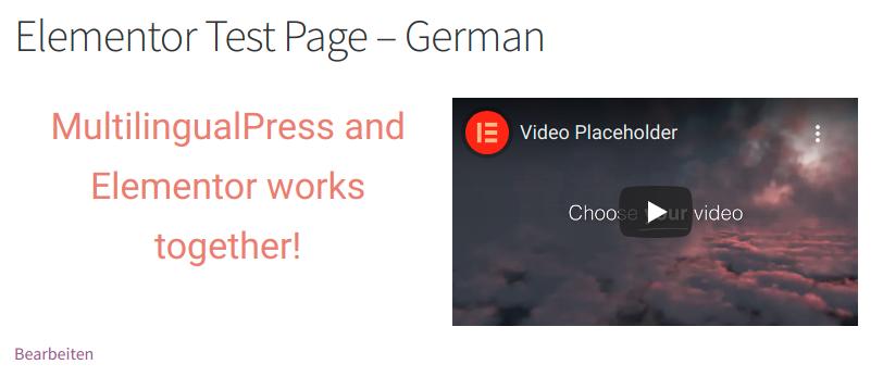 Elementor Testseite - deutsche Version