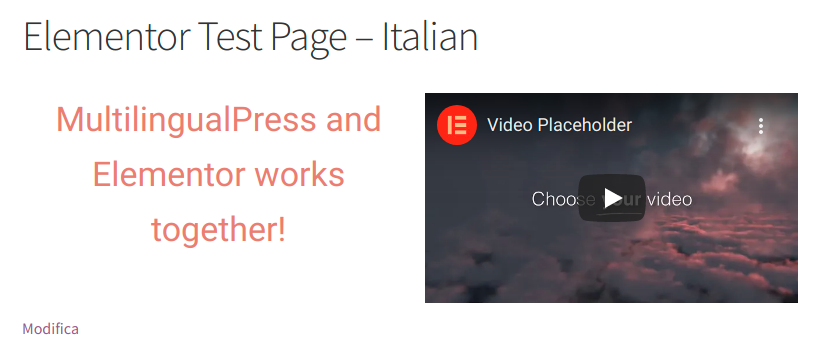 Elementor Testseite - Italienische Version