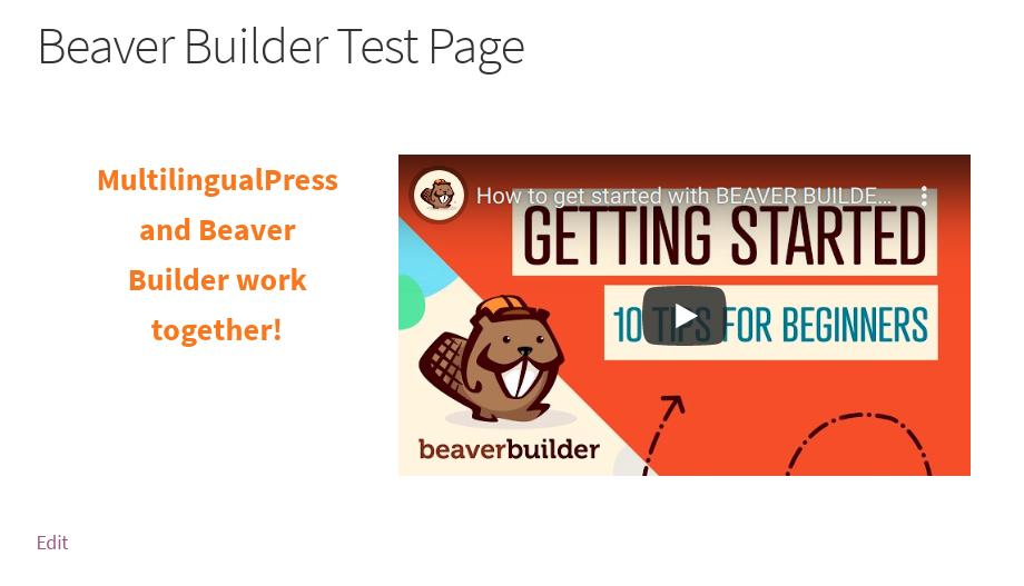 Die mit Beaver Builder bearbeitete Seite