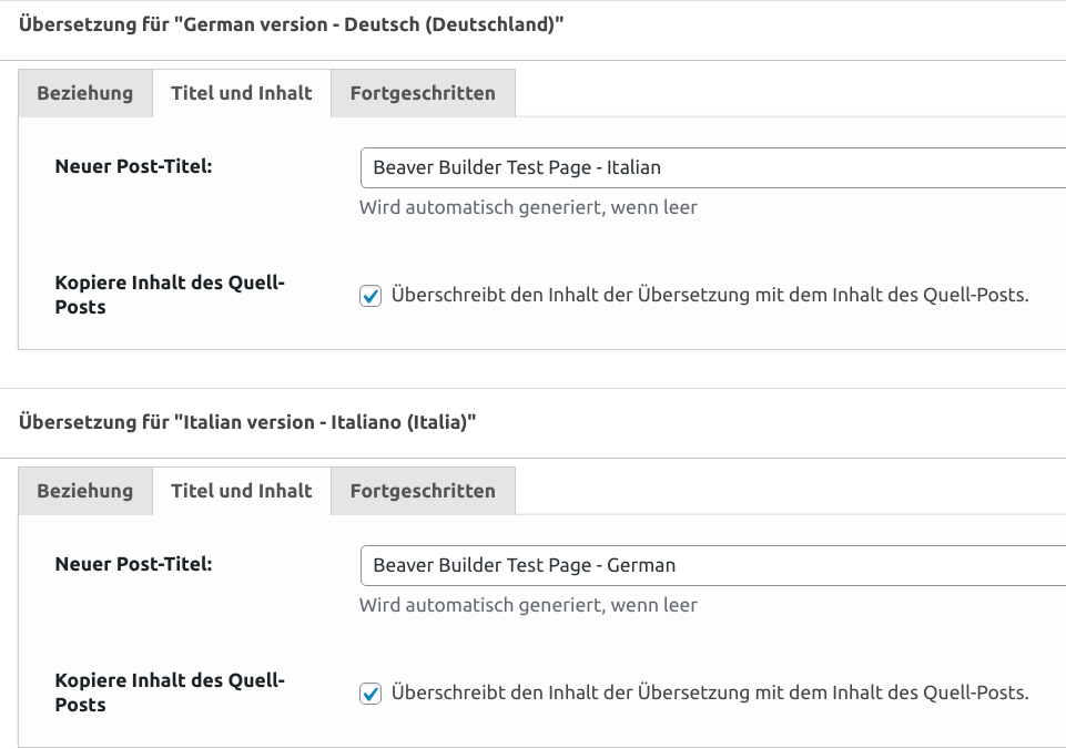 Übersetzungs-Metaboxen konfiguriert